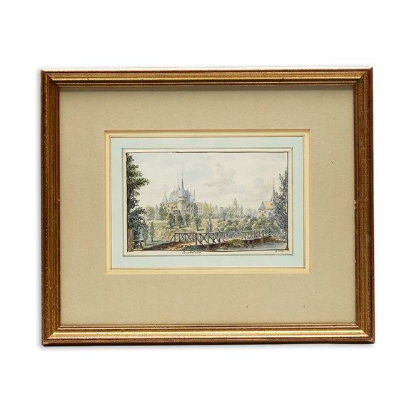 Original G.Leon Watercolour 'view De Chateau De Courtalain Burgundy', C.1785
