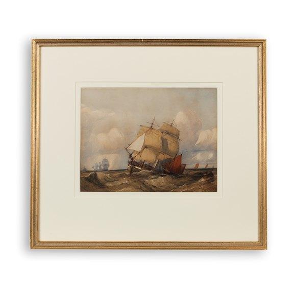 Original Charles Bentley 'Ships In Rough Seas' Watercolour Early 19Th C.